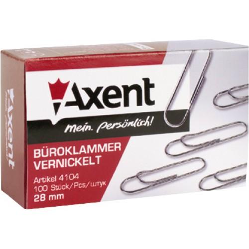 Скрепки Axent, 28 мм., 100 шт. в упак., никелированные с загибом