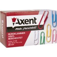 Скрепки Axent, 28 мм., 100 шт. в упак., цветные