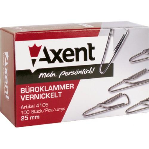 Скрепки Axent, 25 мм.,  треуголные 100 шт. в упак., никелированные