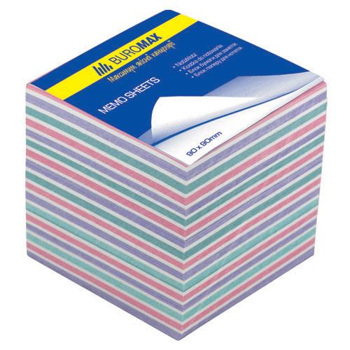 "Бумага для заметок Buromax ""Зебра"", 90х90 мм., 1100 л., не скл., ассорти"