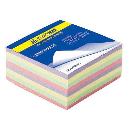 """Бумага для заметок Buromax """"Декор"""", 90х90 мм., 500 л., не скл., ассорти"""