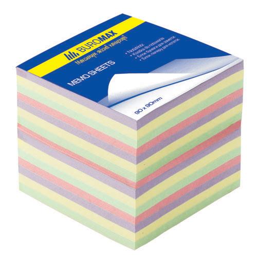 """Бумага для заметок Buromax """"Декор"""", 90х90 мм., 1100 л., не скл., ассорти"""