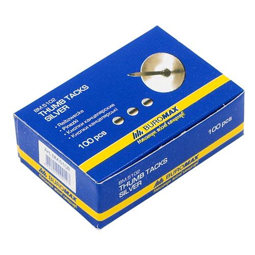 Кнопки Buromax, 100 шт. в упак., никелированные