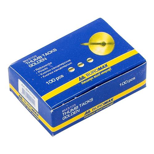 Кнопки Buromax, 100 шт. в упак., золотистые