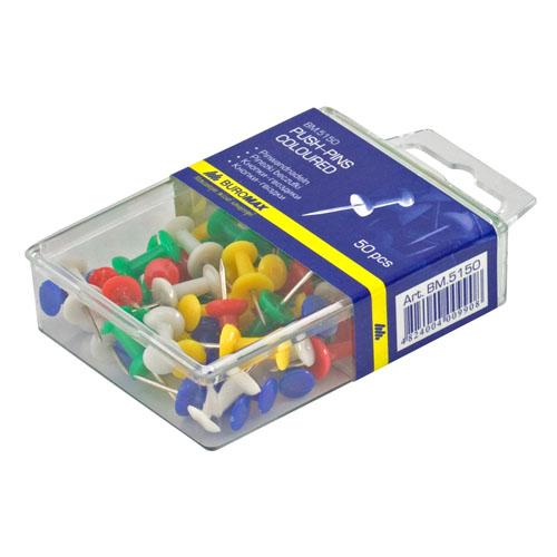 Кнопки-гвоздики Buromax, 50 шт. в упак., ассорти
