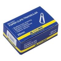 Скрепки Buromax, 25 мм., 100 шт. в упак., никелированные, трехугольные