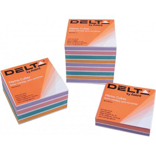 Бумага для заметок Delta, 90х90х30 мм., скл., цветная