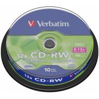 Диск CD-RW,700Mb,12-24х, Cake(10)