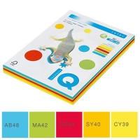 Набор цветной бумаги IQ A4 80г/м2, 5*50л насыщеный RB02