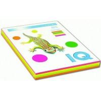 Набор цветной бумаги IQ A4 80г/м2, 4*50л неон RB04