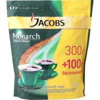 Кофе растворимый Jacobs Monarch, 300+100г, эконом-пакет