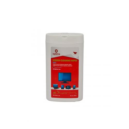 Влажные салфетки для чистки мониторов,мини-туба, 100 шт./уп.